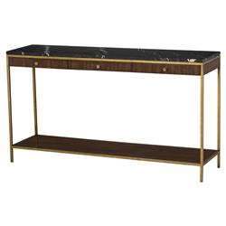 Resource Decor Copeland Mid Century Walnut Gold Trim Marble Top Console Table | Kathy Kuo Home