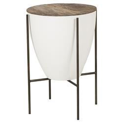 Resource Decor Danica Mid Century White Lacquered Round Side Table - 17 inch | Kathy Kuo Home