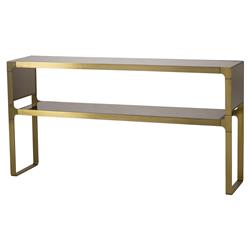 Resource Decor Evans Regency Satin Brass Bronze Mirror Console Table | Kathy Kuo Home