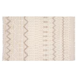 Resource Decor Lusaka Modern Classic Beige Wool Patterned Rug - 5' x 8' | Kathy Kuo Home