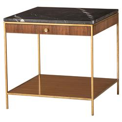 Resource Decor Mid Century Copeland Walnut Gold Trim Marble Top Large Square Side Table | Kathy Kuo Home