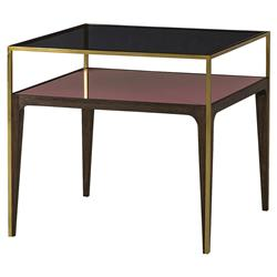 Resource Decor Silhouette Modern Classic Gold Trim Smoked Glass Side Table | Kathy Kuo Home