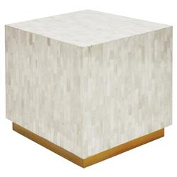 Reston Modern Classic White Gold Bone Cube Side Table Stool | Kathy Kuo Home