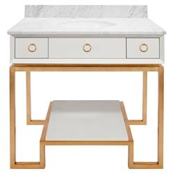 Retta Regency Gold Ring White Marble Vanity Sink | Kathy Kuo Home