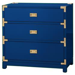 Rex Hollywood Regency Blue Gold Campaign 3 Drawer Nightstand | Kathy Kuo Home