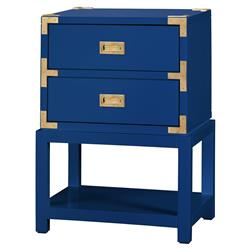 Rex Hollywood Regency Blue Gold Campaign Nightstand | Kathy Kuo Home