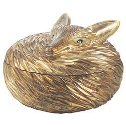 Reynard Hollywood Regency Antique Silver Fox Sculpted Box | Kathy Kuo Home