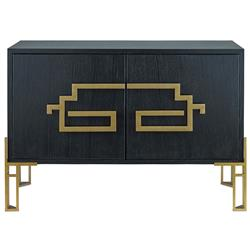 Rhodes Modern Classic Deco Brass Black Wood Sideboard | Kathy Kuo Home