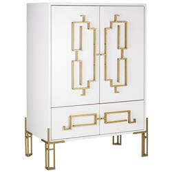 Rhodes Modern Classic Deco Gold Steel White Wood Cabinet | Kathy Kuo Home