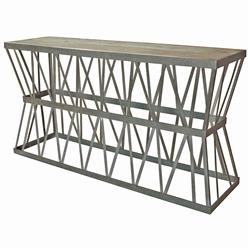Richter Industrial Loft Rustic Steel Elm Top Console Table | Kathy Kuo Home