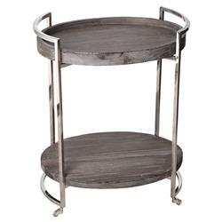 Rico Industrial Grey Pine Oval Steel Bar Cart | Kathy Kuo Home