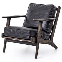 Rider Mid Century Modern Oak Black Leather Armchair | Kathy Kuo Home
