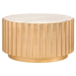 Ridge Regency Round Gold White Marble Coffee Table | Kathy Kuo Home
