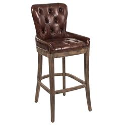 Ridley Rustic Lodge Tufted Brown Leather Bar Stool | Kathy Kuo Home