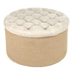 Riley French Country Round Linen Burlap Tufted Ottoman | Kathy Kuo Home