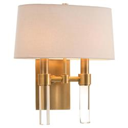 Ritter Hollywood Regency Glass Rod Brass Double Sconce | Kathy Kuo Home