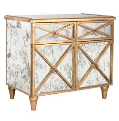 Ritz Hollywood Regency Antique Mirror Gold Crosshatch Bar Cabinet | Kathy Kuo Home