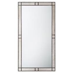 Rocky Hill Modern Classic Mahogany Hide Panelled Rectangular Floor Mirror | Kathy Kuo Home