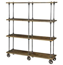 Roland Industrial Loft Weathered Oak 4 Shelf Rolling Bookcase | Kathy Kuo Home