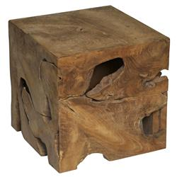 Rolando Rustic Lodge Teak Wood Cube Side Table | Kathy Kuo Home