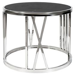 Roman Figures Modern Classic Black Marble Round Side End Table | Kathy Kuo Home