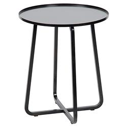 Roman Industrial Loft Round Black Metal Side Table | Kathy Kuo Home