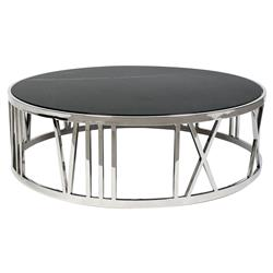 Roman Modern Classic Black Marble Top Round Coffee Table | Kathy Kuo Home