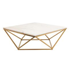 Rosalie Hollywood Regency Gold Steel White Marble Coffee Table | Kathy Kuo Home