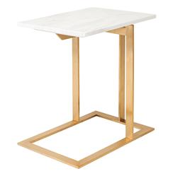 Rosalie Hollywood Regency Gold Steel White Marble Side End Table | Kathy Kuo Home