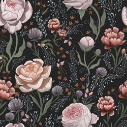 Rose Le Soir Dark Floral Removable Wallpaper | Kathy Kuo Home