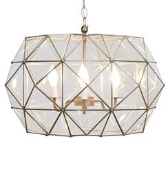 Roslin Hollywood Regency Clear Glass Pendant Chandelier