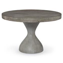 Rotunda Industrial Slate Concrete Outdoor Dining Table - 48D | Kathy Kuo Home