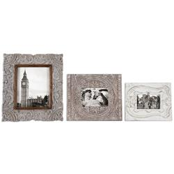 Rouen French Country Carved Antique White Photo Frames - Set of 3 | Kathy Kuo Home