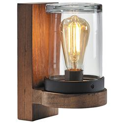 Royal Botania Cloche Industrial Loft Glass Cylinder Teak Wood Outdoor Wall Sconce | Kathy Kuo Home