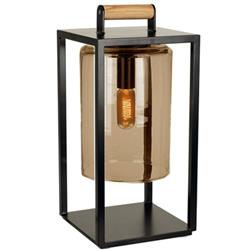 Royal Botania Dome Industrial Amber Glass Black Aluminum Outdoor Lantern | Kathy Kuo Home