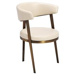 Royston Modern Rounded Cream Angle Bronze Dining Chairs - Pair | Kathy Kuo Home