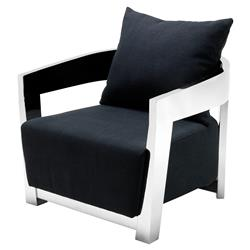 Rubautelli Modern Classic Stainless Steel Black Upholstered Arm Chair | Kathy Kuo Home