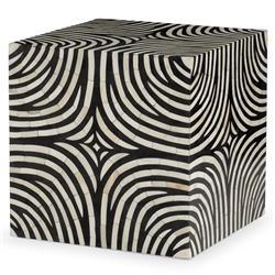 Rumi Global Bazaar Zebra Print Bone Inlay End Table | Kathy Kuo Home