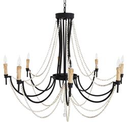 Rumson Coastal Ivory Bead Rustic Black Chandelier | Kathy Kuo Home