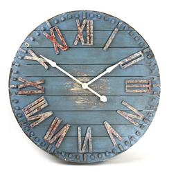 Rustic Beach Cottage Blue Hand Painted Wood Metal Wall Clock | Kathy Kuo Home