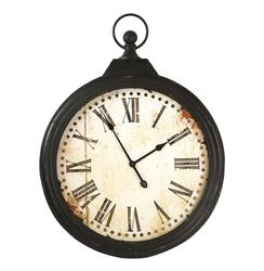 Rustic Iron Large Pocket Watch Wall Clock | Kathy Kuo Home