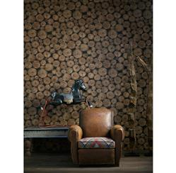 Rustic Lodge Wooden Log Ends Wallpaper - Timber | Kathy Kuo Home