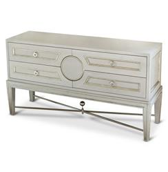 Rutherford Hollywood Regency Grey Silver Gilt Collectors Console Dresser | Kathy Kuo Home