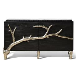 Rye Beach Hollywood Regency Black Silver Branch Media Cabinet - 60 Inch | Kathy Kuo Home