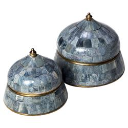 Safi Global Bazaar Bone Grey Blue Round Boxes - Set of 2 | Kathy Kuo Home
