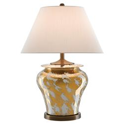 Safire Regency Metallic Gold Glaze White Table Lamp | Kathy Kuo Home