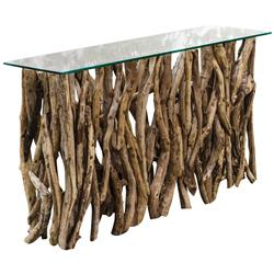Sagamore Rustic Beach Reclaimed Teak Wood Console Table | Kathy Kuo Home