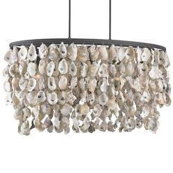 Sagg Coastal Beach Oyster Shell Wrought Iron Island Light | Kathy Kuo Home