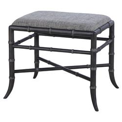 Sai Bazaar Faux Charcoal Bamboo Tailored Stool | Kathy Kuo Home