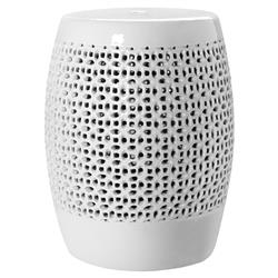 Sami Global Bazaar White Porcelain Lace Garden Stool | Kathy Kuo Home